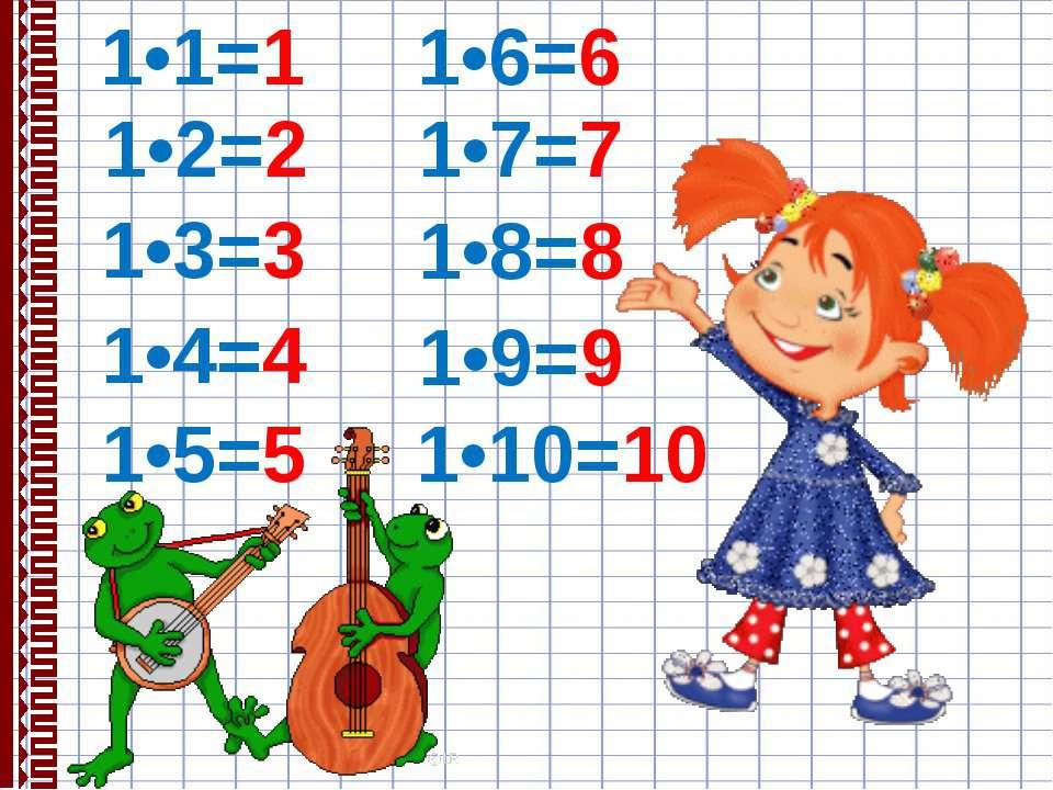 1•1=1 1•2=2 1•3=3 1•4=4 1•5=5 1•6=6 1•7=7 1•8=8 1•9=9 1•10=10