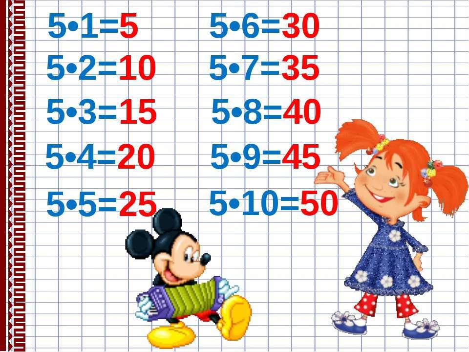 5•1=5 5•2=10 5•3=15 5•4=20 5•5=25 5•6=30 5•7=35 5•8=40 5•9=45 5•10=50