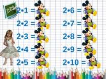 2•1 = 2 2•6 = 12 2•2 = 4 2•7 = 14 2•3 = 6 2•8 = 16 2•4 = 8 2•9 = 18 2•5 = 10 ...