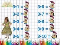 3•1 = 3 3•6 = 18 3•2 = 6 3•7 = 21 3•3 = 9 3•8 = 24 3•4 = 12 3•9 = 27 3•5 = 15...