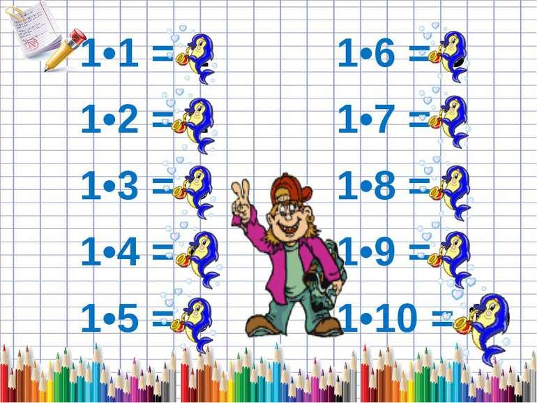 1•1 = 1 1•6 = 6 1•2 = 2 1•7 = 7 1•3 = 3 1•8 = 8 1•4 = 4 1•9 = 9 1•5 = 5 1•10 ...