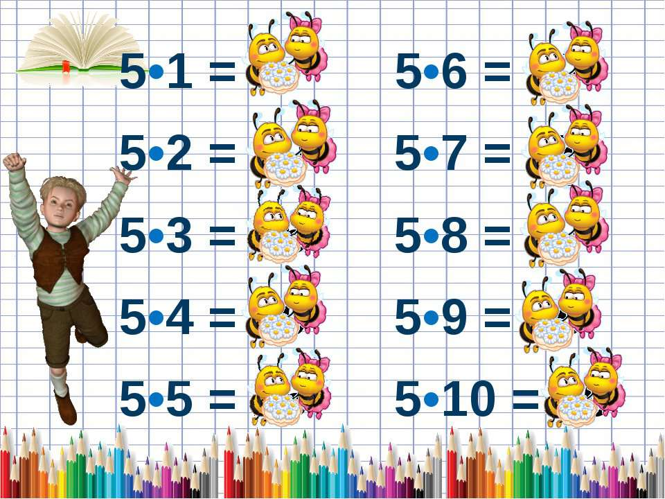 5•1 = 5 5•6 = 30 5•2 = 10 5•7 = 35 5•3 = 15 5•8 = 40 5•4 = 20 5•9 = 45 5•5 = ...