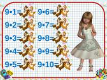 9•1= 9 9•6= 54 9•2= 18 9•7= 63 9•3= 27 9•8= 72 9•4= 36 9•9= 81 9•5= 45 9•10= 90