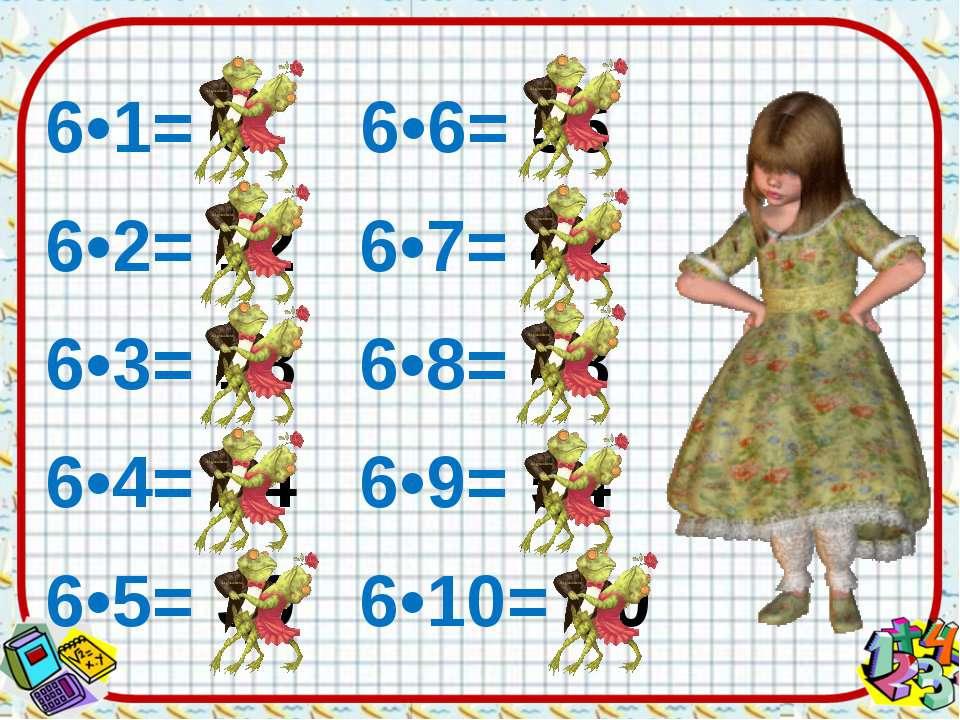 6•1= 6 6•6= 36 6•2= 12 6•7= 42 6•3= 18 6•8= 48 6•4= 24 6•9= 54 6•5= 30 6•10= 60