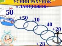 УСНИЙ РАХУНОК « ЛАНЦЮЖОК» 50 +50 -10 -40 +20 +28