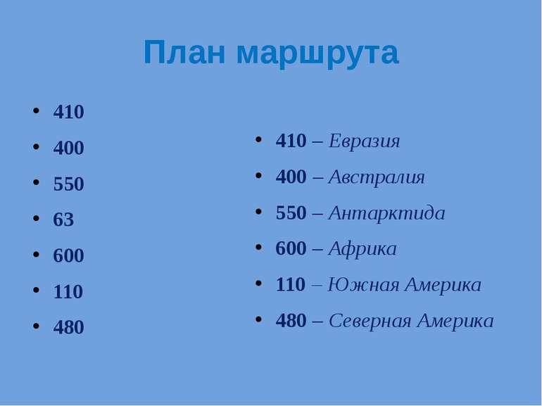 План маршрута 410 400 550 63 600 110 480 410 – Евразия 400 – Австралия 550 – ...