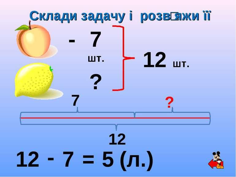 - 7 шт. ? 12 шт. 12 - 7 = 5 (л.) 7 ? 12 Склади задачу і розвʹяжи її
