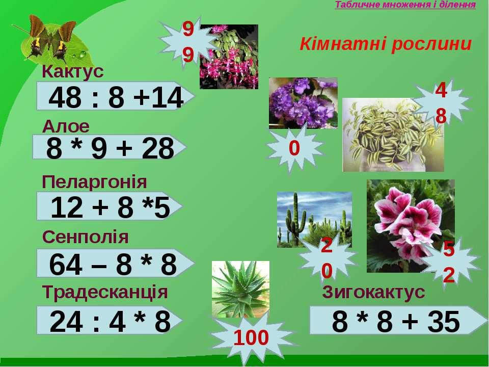 Табличне множення і ділення Кімнатні рослини Кактус Алое Пеларгонія Сенполія ...