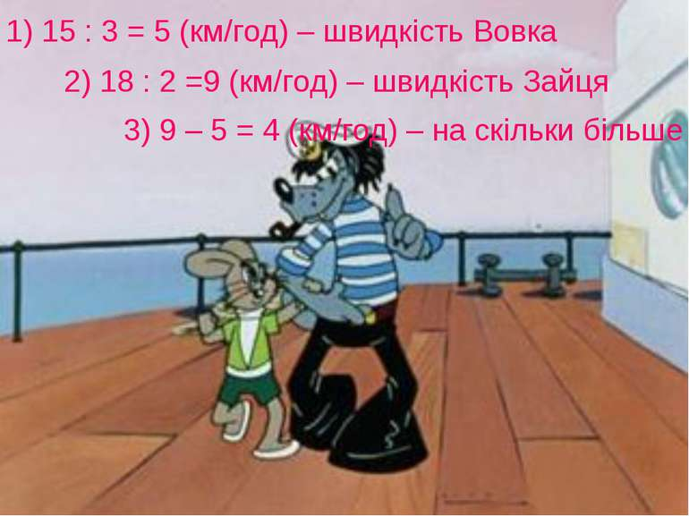 1) 15 : 3 = 5 (км/год) – швидкість Вовка 2) 18 : 2 =9 (км/год) – швидкість За...