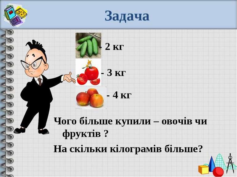 Задача - 2 кг - 3 кг - 4 кг Чого більше купили – овочів чи фруктів ? На скіль...
