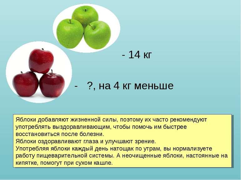 - 14 - 14 кг - ?, на 4 кг меньше Яблоки добавляют жизненной силы, поэтому их ...
