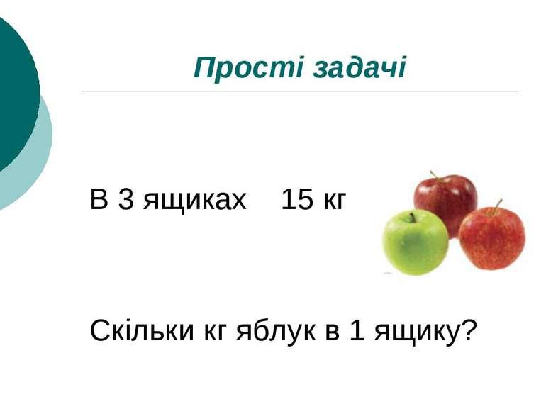 Прості задачі В 3 ящиках 15 кг Скільки кг яблук в 1 ящику?