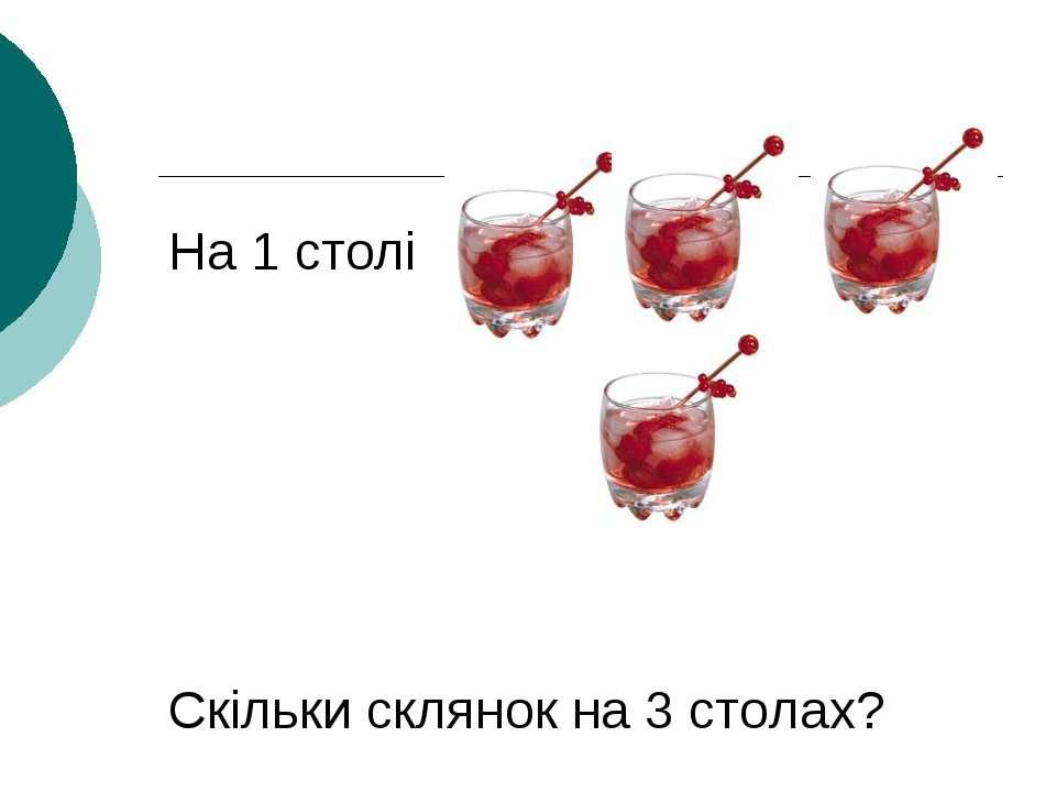 На 1 столі Скільки склянок на 3 столах?