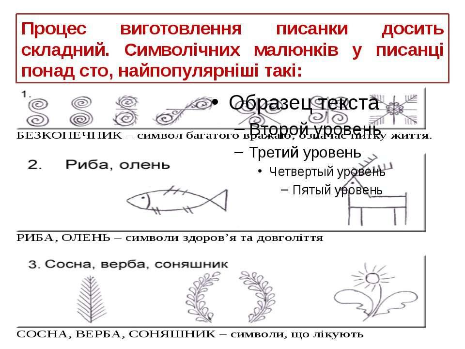 Процес виготовлення писанки досить складний. Символічних малюнків у писанці п...