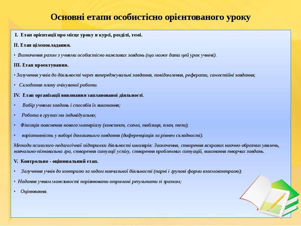 Основні етапи особистісно орієнтованого уроку I. Етап орієнтації про місце ур...