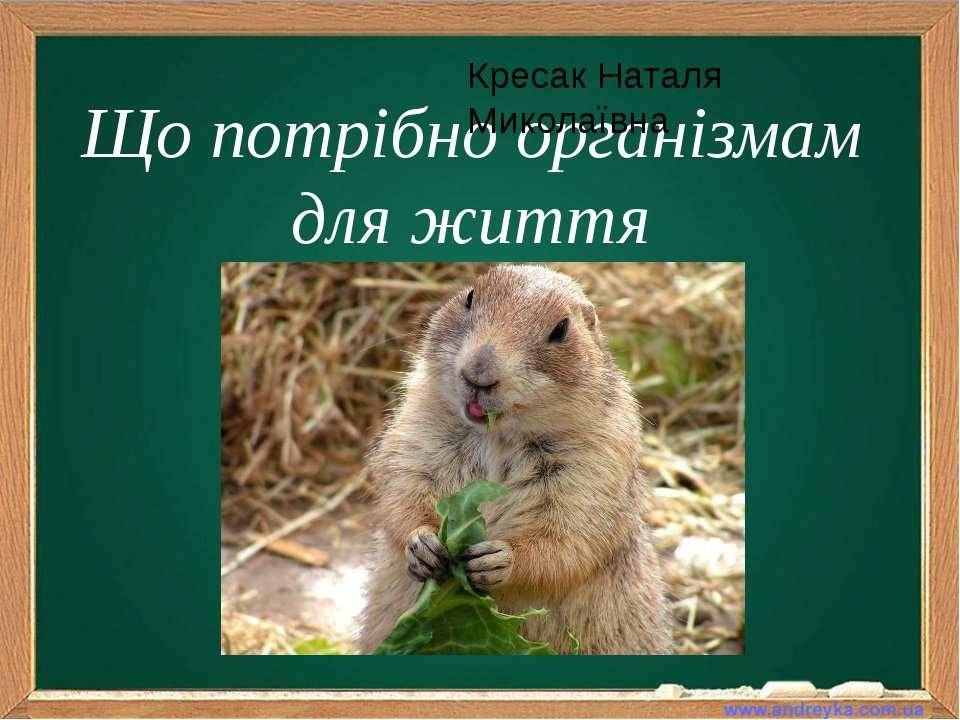 Що потрібно організмам для життя Кресак Наталя Миколаївна
