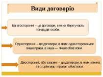 Види договорів Багатосторонні – це договори, в яких бере участь понад дві осо...