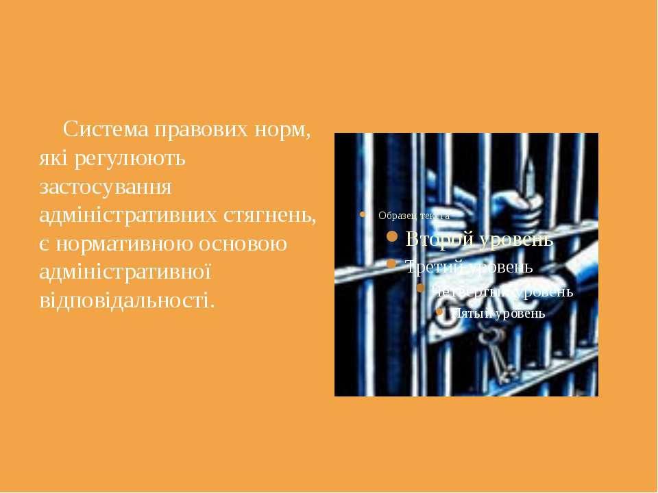 Система правових норм, які регулюють застосування адміністративних стягнень, ...