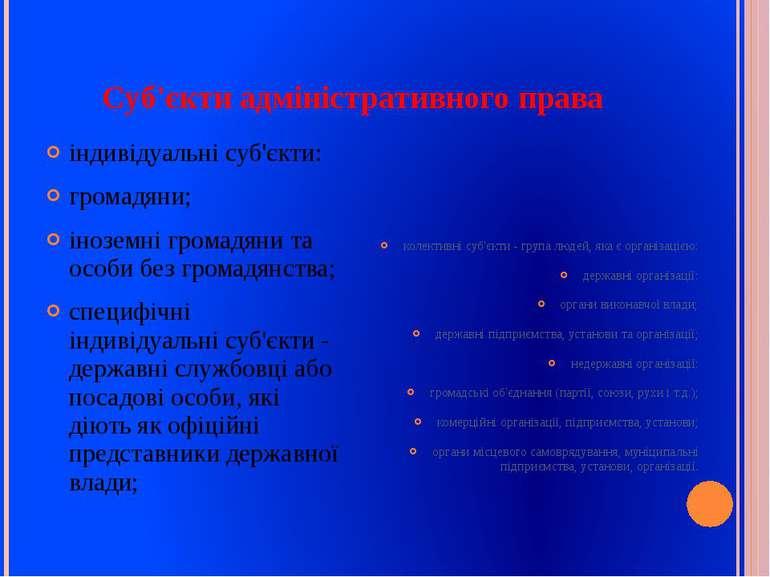 Суб'єкти адміністративного права індивідуальні суб'єкти: громадяни; іноземні ...