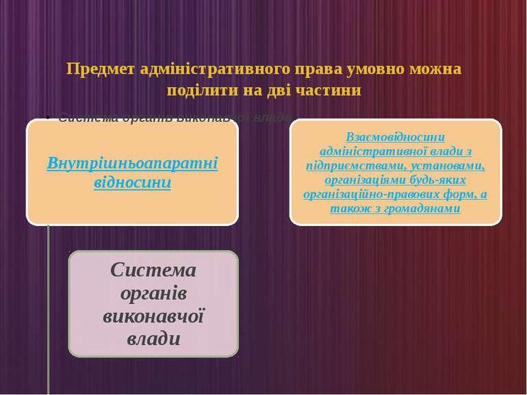 Предмет адміністративного права умовно можна поділити на дві частини