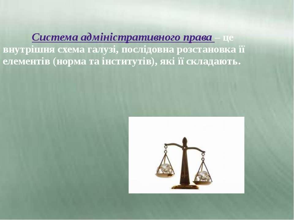 Система адміністративного права – це внутрішня схема галузі, послідовна розст...