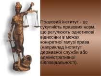 Правовий інститут - це сукупність правових норм, що регулюють однотипові відн...