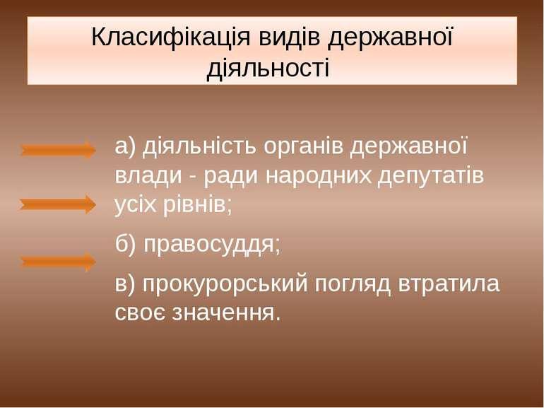Класифікація видів державної діяльності а) діяльність органів державної влади...