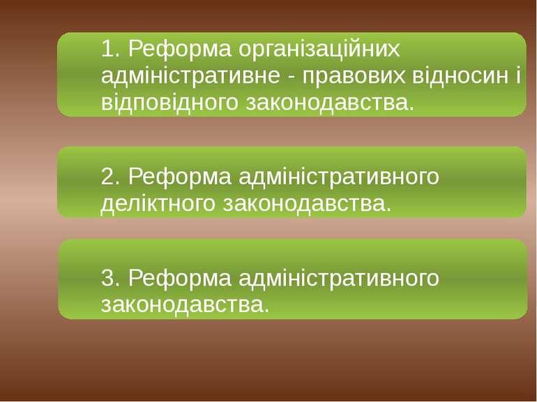 1. Реформа організаційних адміністративне - правових відносин і відповідного ...