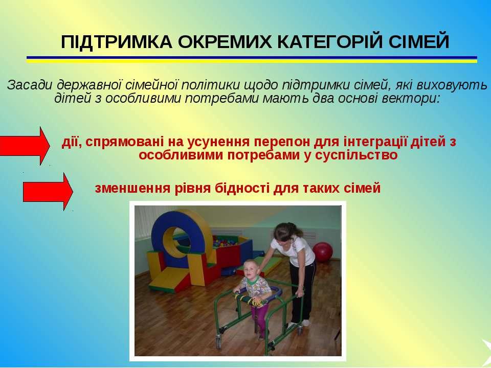 ПІДТРИМКА ОКРЕМИХ КАТЕГОРІЙ СІМЕЙ Засади державної сімейної політики щодо під...
