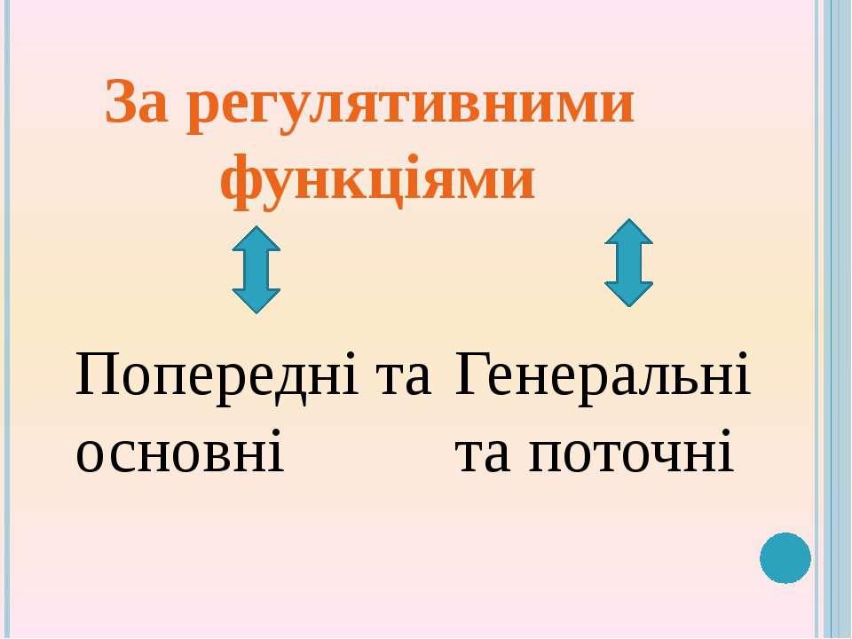 За регулятивними функціями Попередні та основні Генеральні та поточні