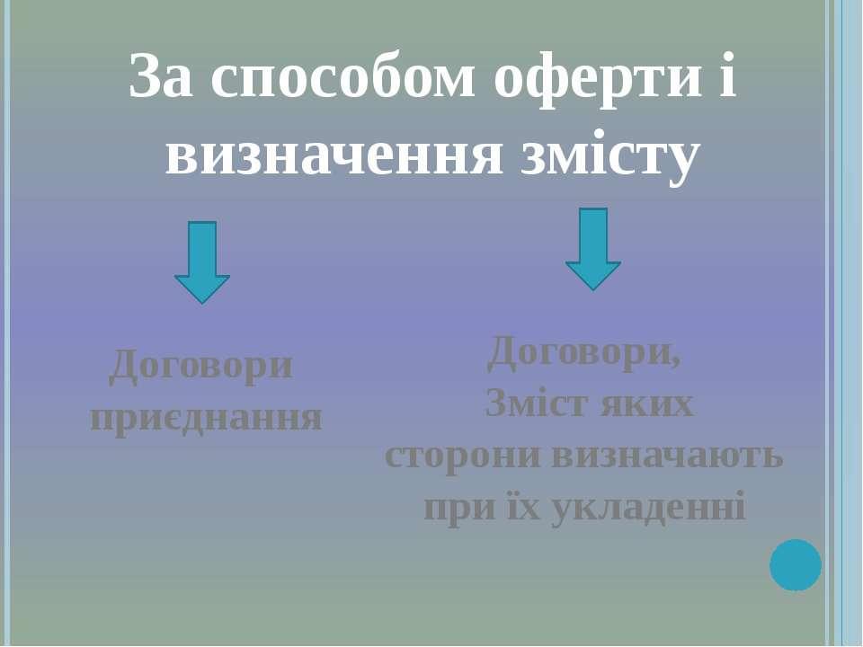 За способом оферти і визначення змісту Договори приєднання Договори, Зміст як...