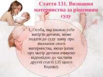 Стаття 131. Визнання материнства за рішенням суду