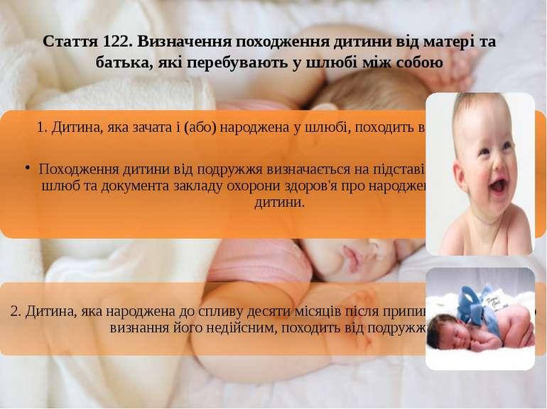 Стаття 122. Визначення походження дитини від матері та батька, які перебувают...
