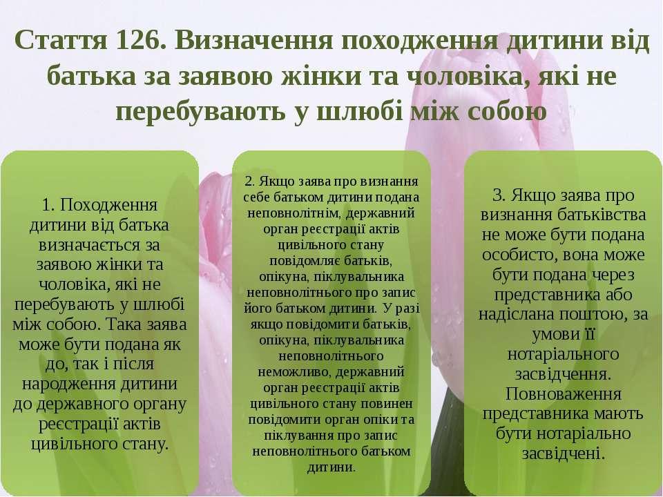 Стаття 126. Визначення походження дитини від батька за заявою жінки та чолові...