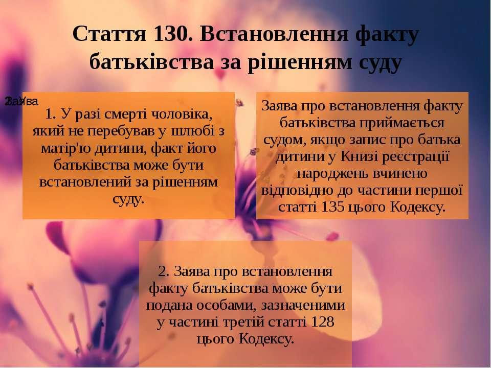 Стаття 130. Встановлення факту батьківства за рішенням суду