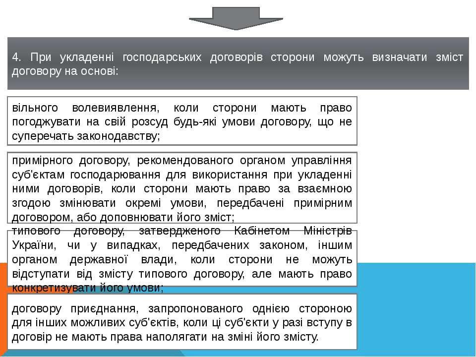 4. При укладенні господарських договорів сторони можуть визначати зміст догов...
