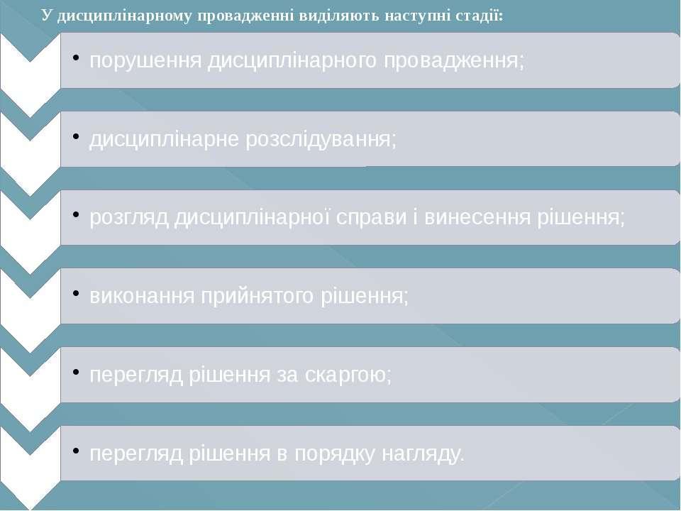 У дисциплінарному провадженні виділяють наступні стадії: