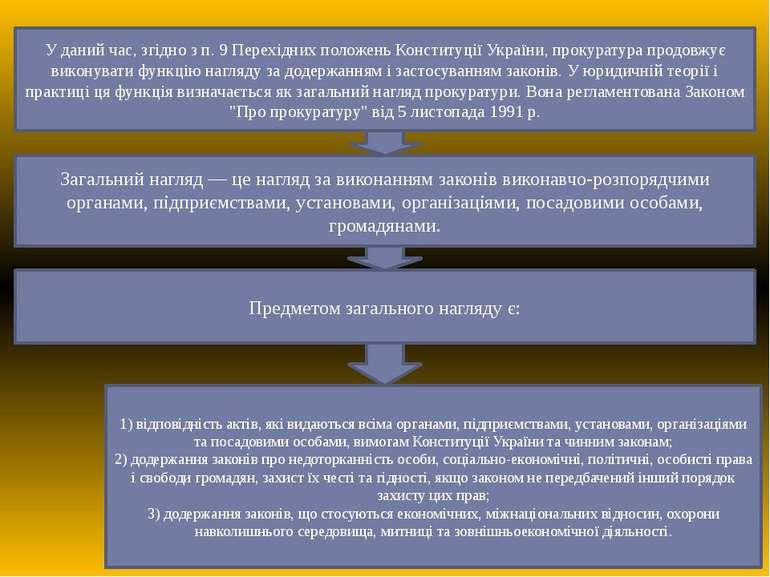 У даний час, згідно з п. 9 Перехідних положень Конституції України, прокурату...