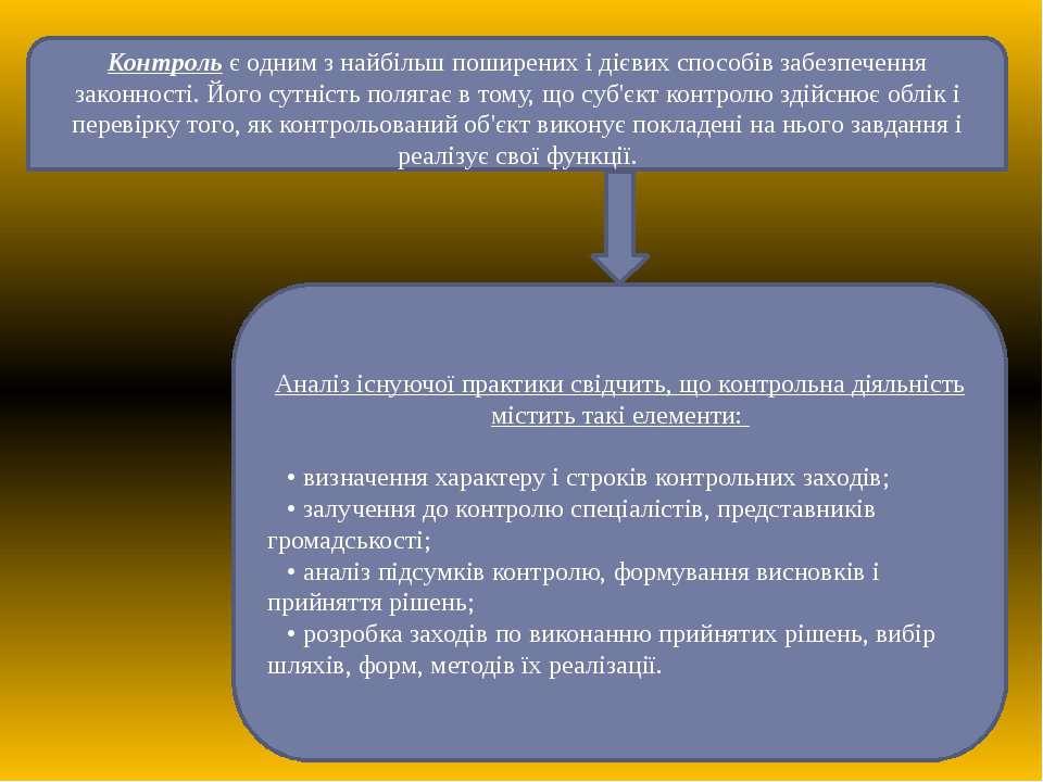 Контроль є одним з найбільш поширених і дієвих способів забезпечення законнос...