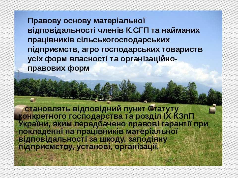 становлять відповідний пункт Статуту конкретного господарства та розділ IX КЗ...
