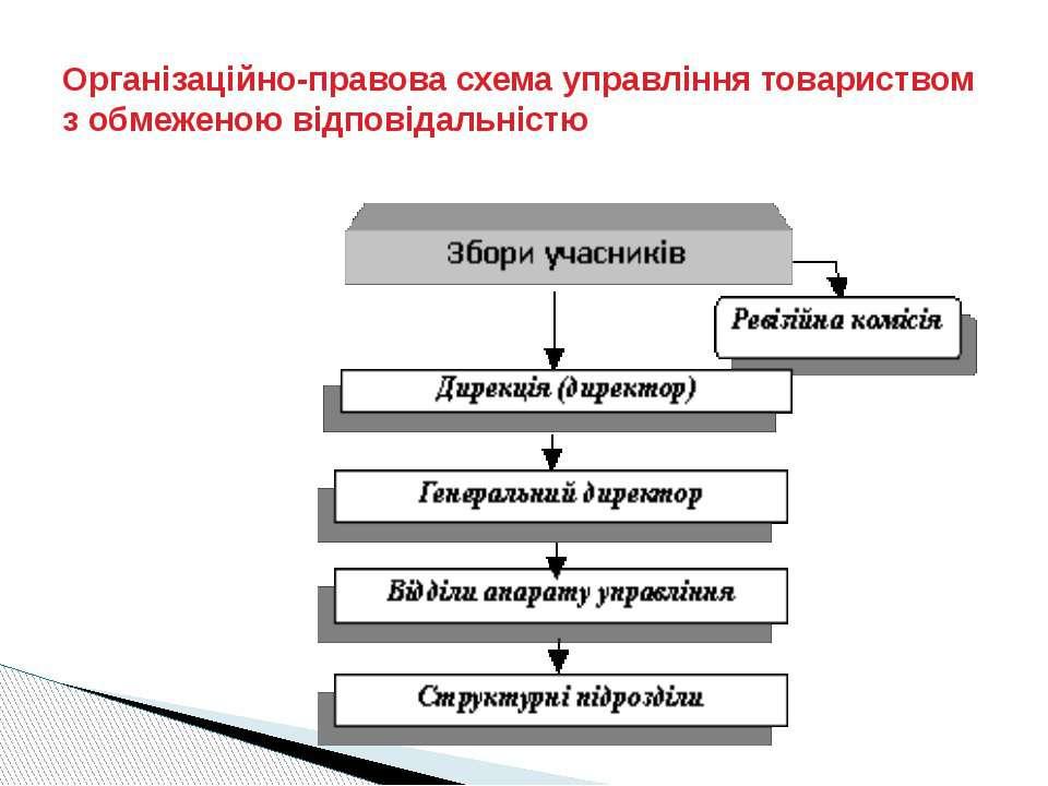 Організаційно-правова схема управління товариством з обмеженою відповідальністю