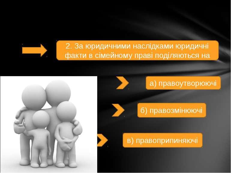 2. За юридичними наслідками юридичні факти в сімейному праві поділяються на а...
