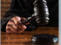 Взаємовідносини з гілкою судової влади визначаються статтями 106, 128, 131 та...