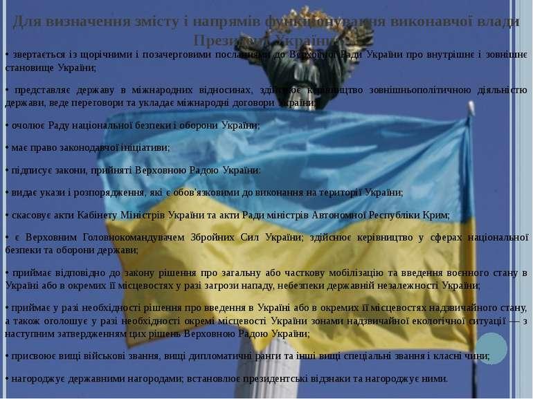 Для визначення змісту і напрямів функціонування виконавчої влади Президент Ук...