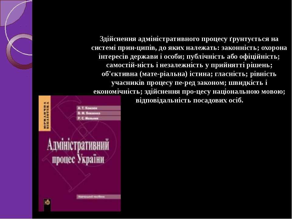 Здійснення адміністративного процесу ґрунтується на системі прин ципів, до як...