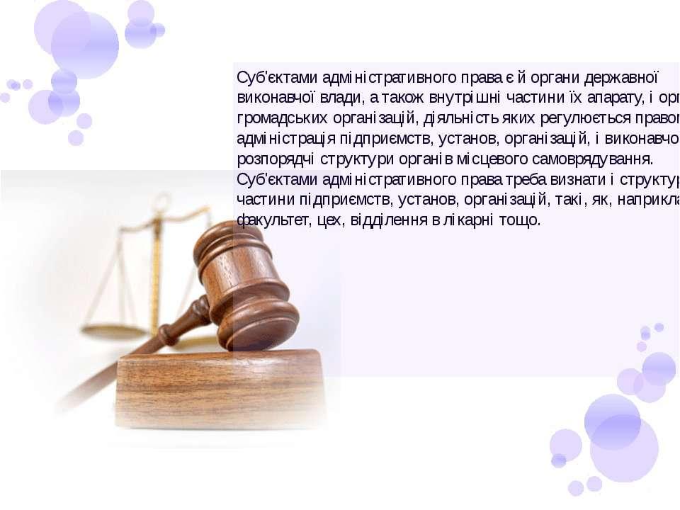 Суб'єктами адміністративного права є й органи державної виконавчої влади, а т...