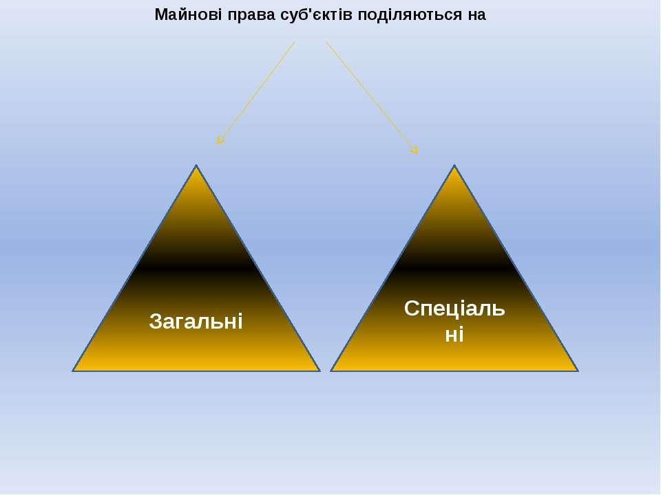 Майнові права суб'єктів поділяються на Загальні Спеціальні