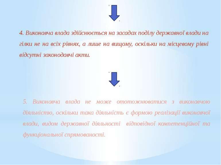 4. Виконавча влада здійснюється на засадах поділу державної влади на гілки не...