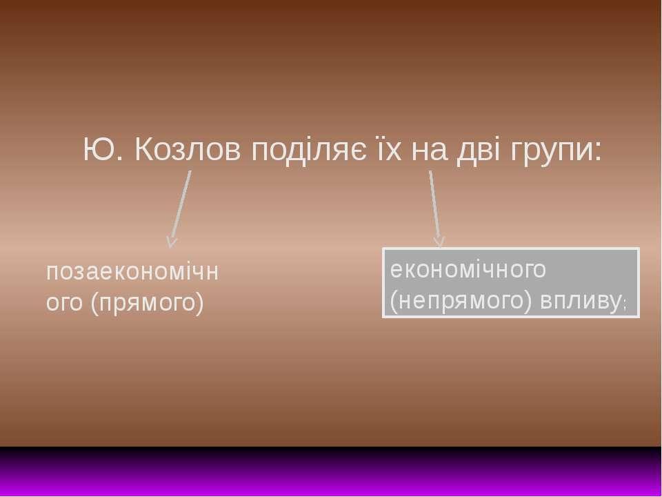 Ю. Козлов поділяє їх на дві групи: позаекономічного (прямого) економічного (н...