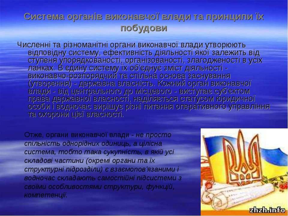 Система органів виконавчої влади та принципи їх побудови Численні та різноман...